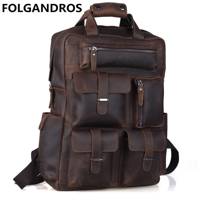 designer genuine leather backpacks men multi pocket daypack ...