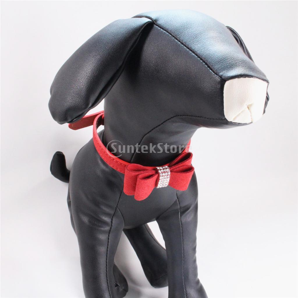 Dog collar Pet Puppy Crystal Rhinestone Bowknot Adjustable S Red