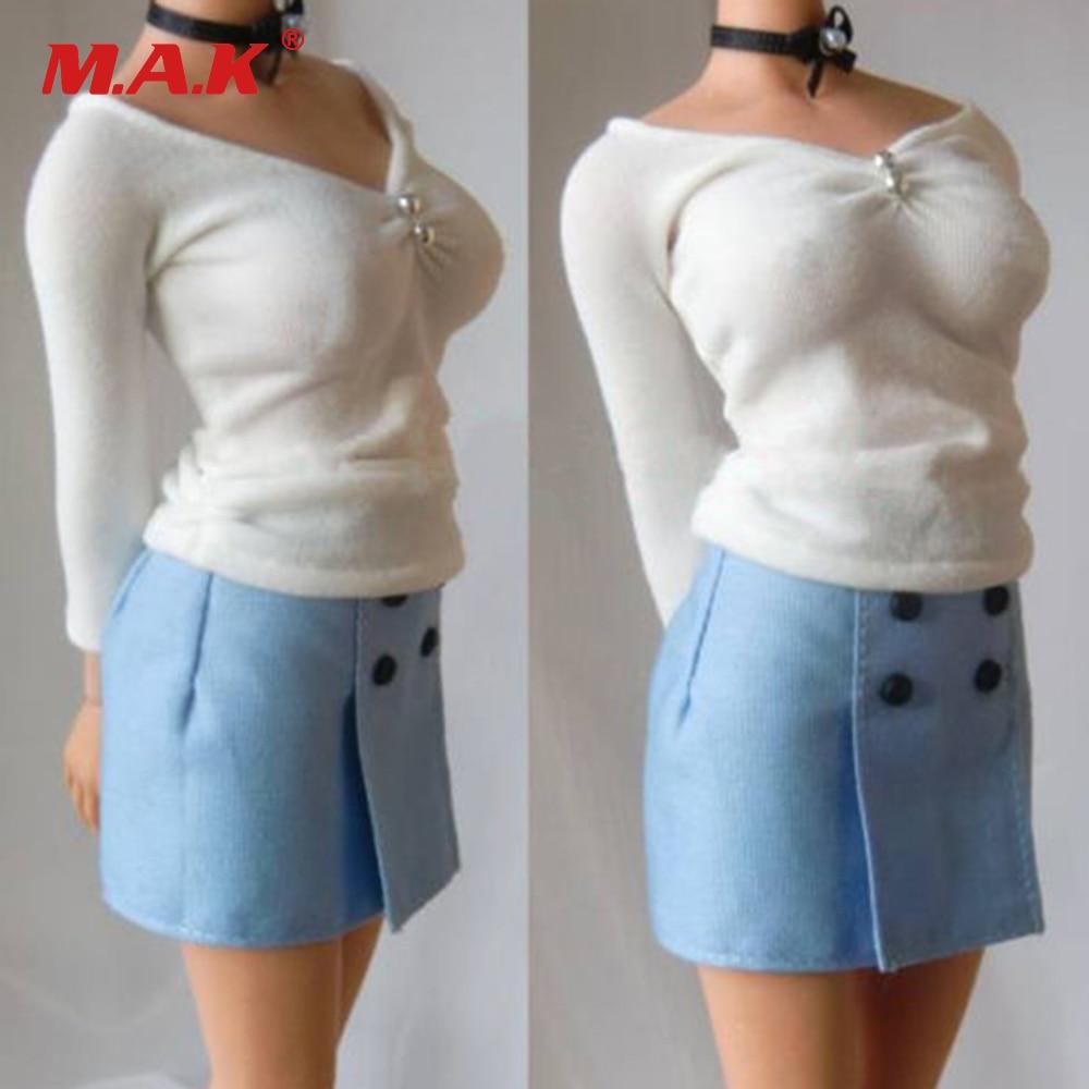Custom 1:6 Scale Female Professional Suit Cloth White Shirt&Blue Short Skirt F 12 Female Action Figures Accessories 3d ручка feizerg f 001 blue