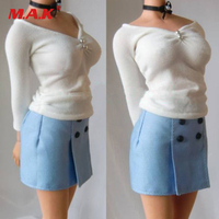 Custom 1:6 Scale Female Professional Suit Cloth White Shirt and Blue Short Skirt F 12 Female Action Figures Accessories