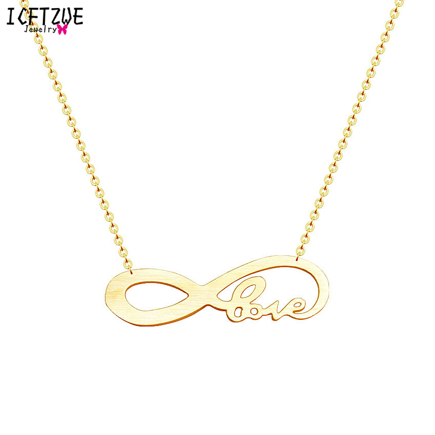 6f127e0f87ba9 DIANSHANGKAITUOZHE Stainless Steel Silver Gold Colour Colar Choker Atacado  Love Tiny Infinity Fashion Chain Necklace For Women