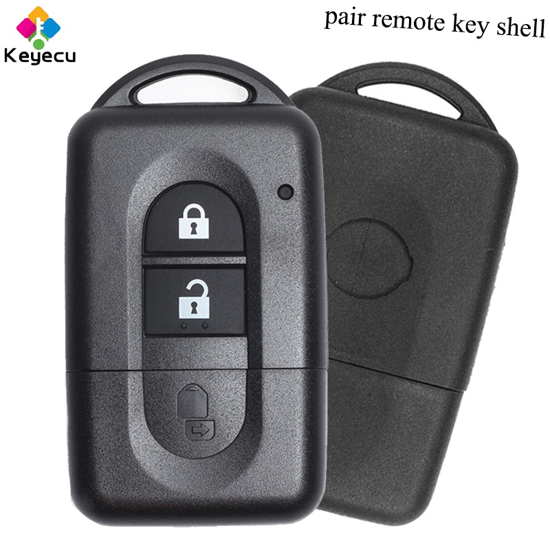 KEYECU Pair Replacement Folding Remote Control Car Key Shell With 2 Button - FOB For Nissan Micra Xtrail Qashqai Note Pathfinder