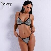 Yesexy 2019 Women Sexy Harness Bikini Rhinestone Beachwear Swimsuit Ladies Bathing Push Up Swimwear Bodysuit VR9160