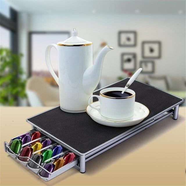 Mrosaa 36 Cup Nespresso Coffee Capsules Pod Holder Storage Stand Rack  Drawers Steel Coffee Capsules Shelves