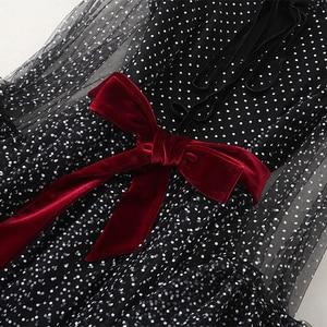 Image 3 - Robe longue noire, à manches longues, à mailles évasées, à la mode, vêtement de soirée, vente en gros