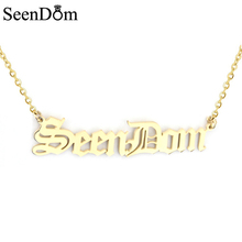 Classic Customized Name Necklace Stainless Steel Personalized Gold Color Old English Style Nameplate Pendant Necklace