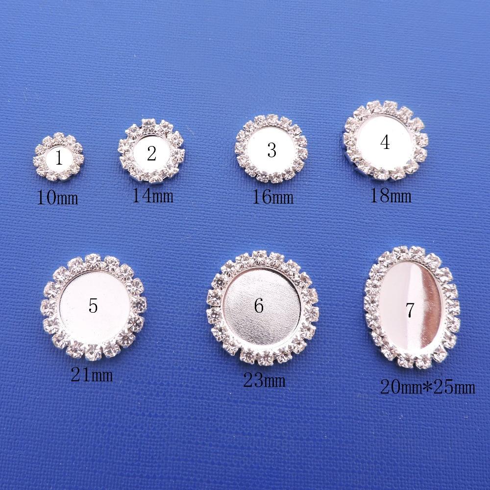 HOT 10PCS/Set Full Size Silver Flat Back Rhinestone Button Crystal Fitting DIY Wedding Invitation Gail Hair Flower Accessory