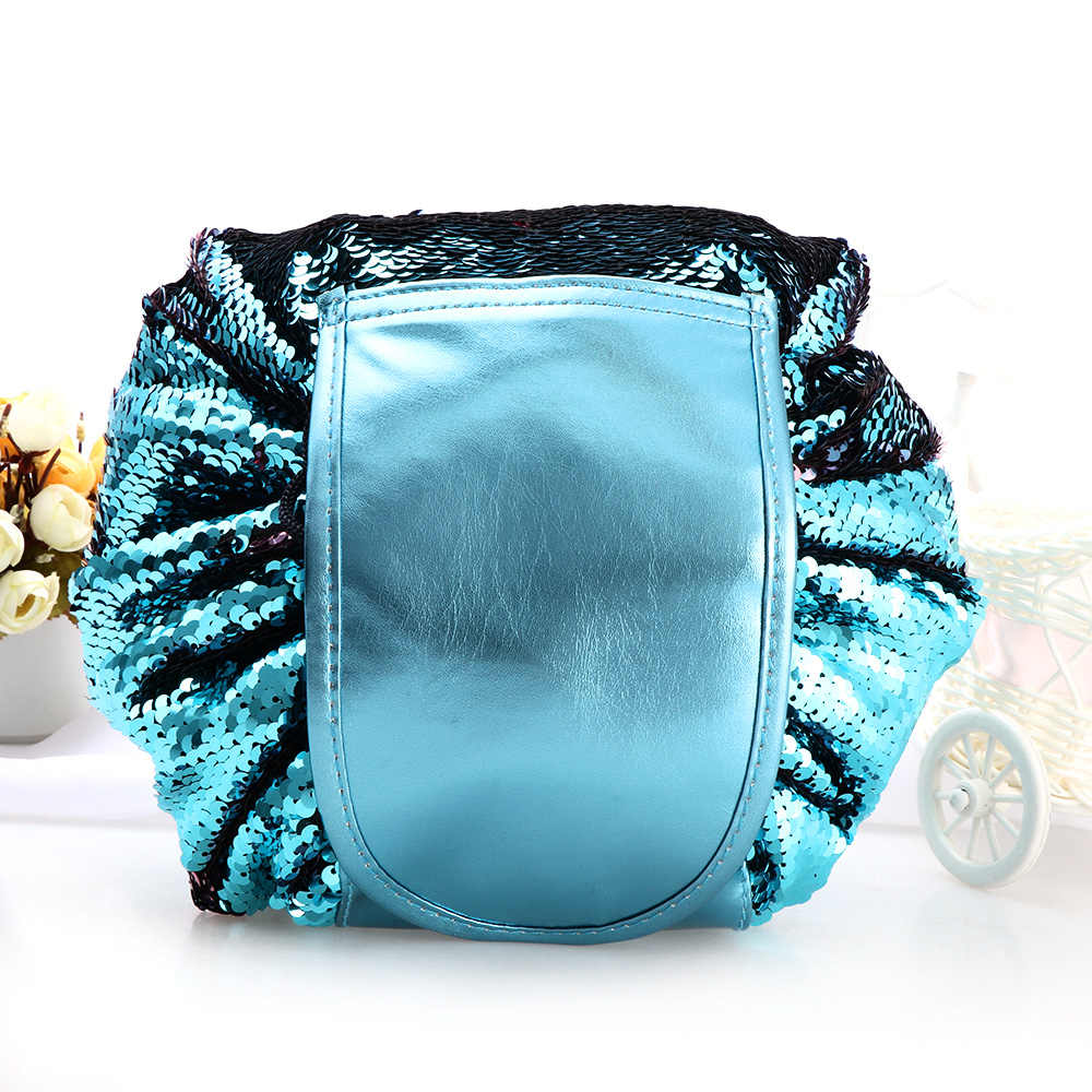 57c0de6b78 Women Fashion Mermaid Sequin Drawstring Cosmetic Bag Waterproof Travel Makeup  Bag Case Wash Organizer Pouch Foldable