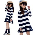 New Spring Long Sleeve Dresses For Girls Striped Casual Party Dress Teenage Girls Clothing 10 12 Years Children'S Designer Dress