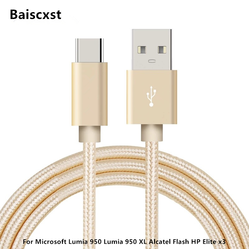 USB Type C Cable For Microsoft Lumia 950 Lumia 950 XL Alcatel Flash HP  Elite x3 TypeC Fast Charge USB Type-c Cable Adapter