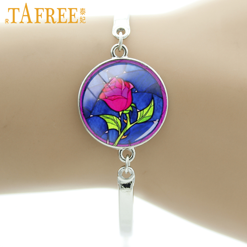TAFREE Brand beauty and the beast Red Rose bracelet women charm Pink Lilies flower bridal wedding party jewelry girls gifts B300
