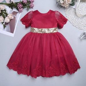 Image 2 - Yenidoğan bebek kızlar bordo çin tarzı işlemeli payetli ilmek Tutu sevimli elbise 1st doğum günü partisi İlk Communion elbise