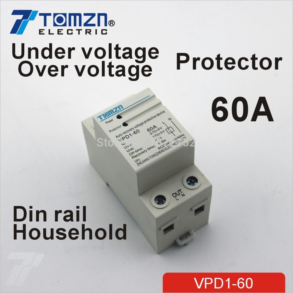 60A 230V Household Din rail automatic recovery reconnect over voltage and under voltage protective device protector 1pc 63a 230v self recovery automatic reconnect over