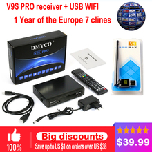 1 Year Europe 7 C-lines Server HD Satellite Receiver DMYCO V9S Pro DVB-S2 Decode Full 1080P Spain Germany With USB Wifi Receptor