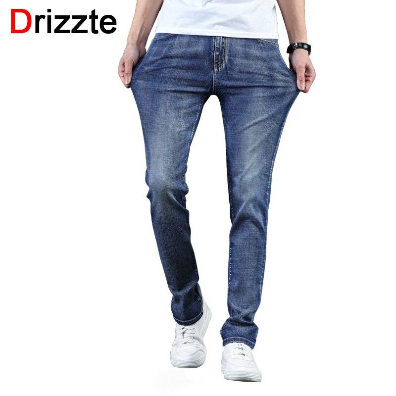 Drizzte Marque Mens Jeans À La Mode Stretch Bleu Clair Denim Hommes Slim Fit Jeans Pantalon Pantalon Taille 35 36 38 40 42 44 46 Jean