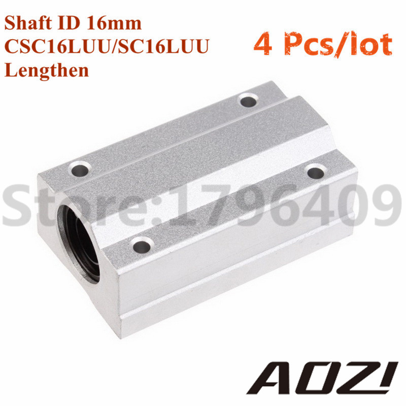 Wholesale 4 pcs/lot Linear Motion Ball Bearings Slide Block Lengthen SCS16LUU Match Used By D16mm Linear Optical Axis SC16LUU scv35uu slide linear bearings aluminum box type cylinder axis scv35 linear motion ball silide units cnc parts high quality