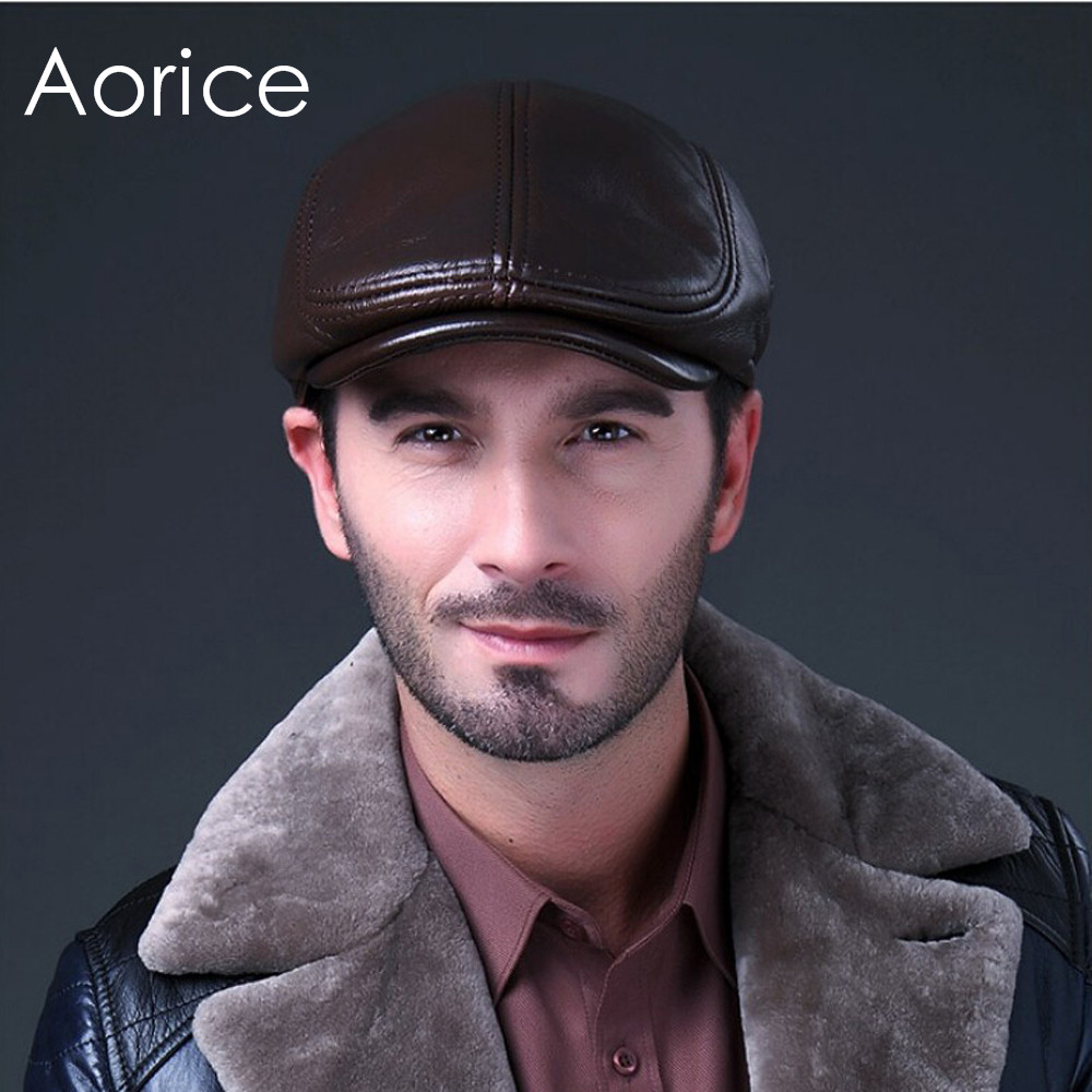 HL042 men's genuine real leather baseball caps hats brand new cow skin beret newsboy hat cap black brown coffee aorice autumn winter men caps genuine leather baseball cap brand new men s real cow skin leather hats warm hat 4 colors hl131