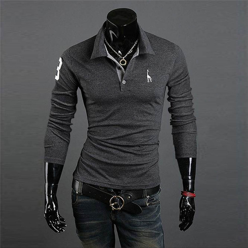 cf76b46b25a Handsome Lapel Gentleman Polo Shirt Long Sleeve Slim Fitness V Neck Shirts  Casual Tee Man Tops Plus Size M XXXL 10 Colors-in Polo from Men's Clothing  ...