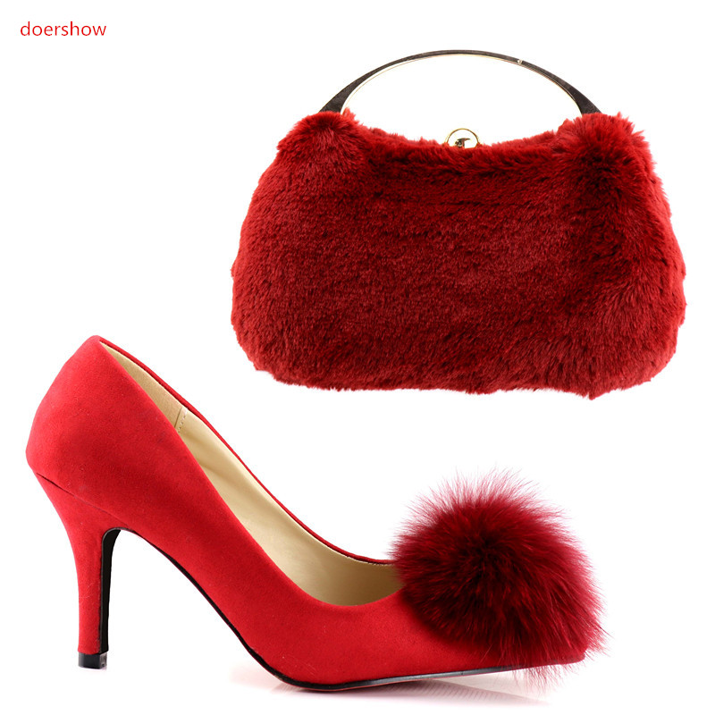 doershow Shoes and Bag To Match Italian red Color Women Shoe and Bag To Match for Party African Shoe and Bag Set for lady HV1-76 doershow women shoe and bag to match for parties african shoe and bag set for wedding in women white high quality lulu1 23