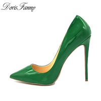 Doris Fanny Green high heels pumps 12cm sexy Stiletto heels Women pump queen shoes plus size 44 45