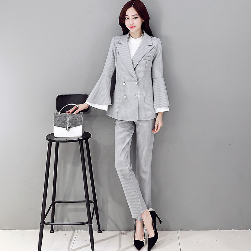 2017 spring new Short jacket + wide leg pants suit fashion OL temperament small fragrant female fashion leisure suit Set