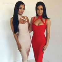 2016 New Arrival Woman Sexy Halter Blackless Sleeveless Bandage Dress Special Occasion Celebrity Bandage Dress Wholesale