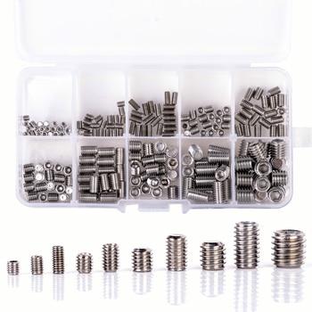 200 unids/set de acero inoxidable tornillos de cabeza Allen hembra hexagonal de tornillo de punta plana tornillos sin cabeza