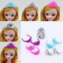 10pcs set Girls Crystal Plastic Crown Headband Headwear Accessories for Barbie Doll Toys