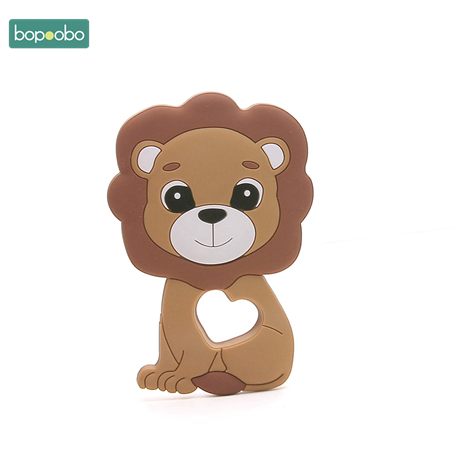 Bopoobo 10pc Baby Teether Food Grade Silicone Beads Lion Pendant Baby Teething DIY Nursing Gifts Bracelet Pacifier Chain Product