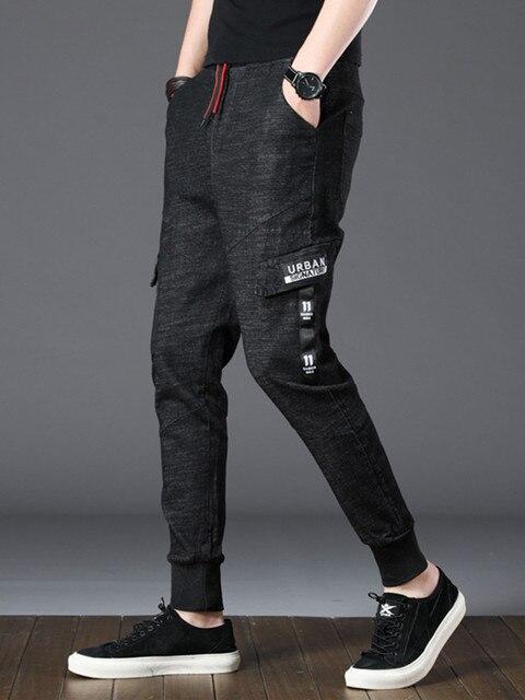 EL BARCO Summer Cotton Hip Hop Men Jeans Black Pocket Streetwear Skinny Pencil Pants Male Soft Casual Denim Trousers Harem Jeans