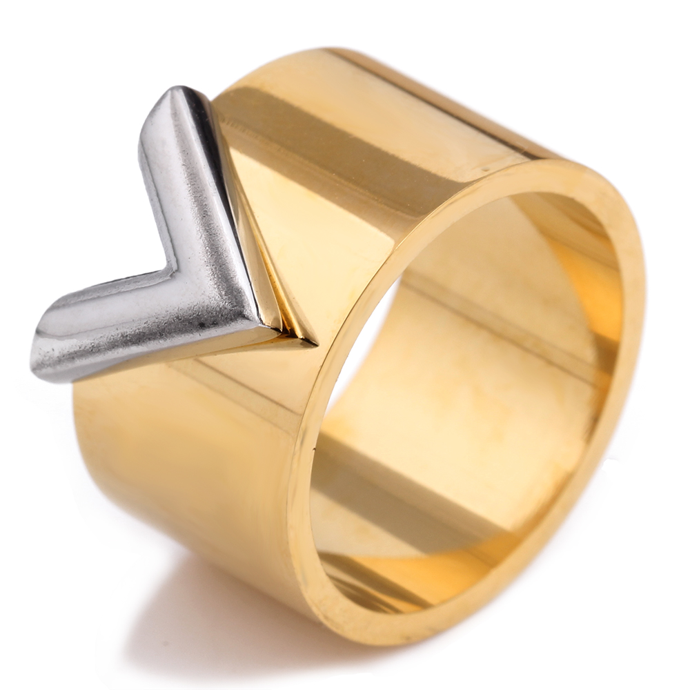 Fashion famous brand women ring jewelry double color gold for What is gold polished jewelry