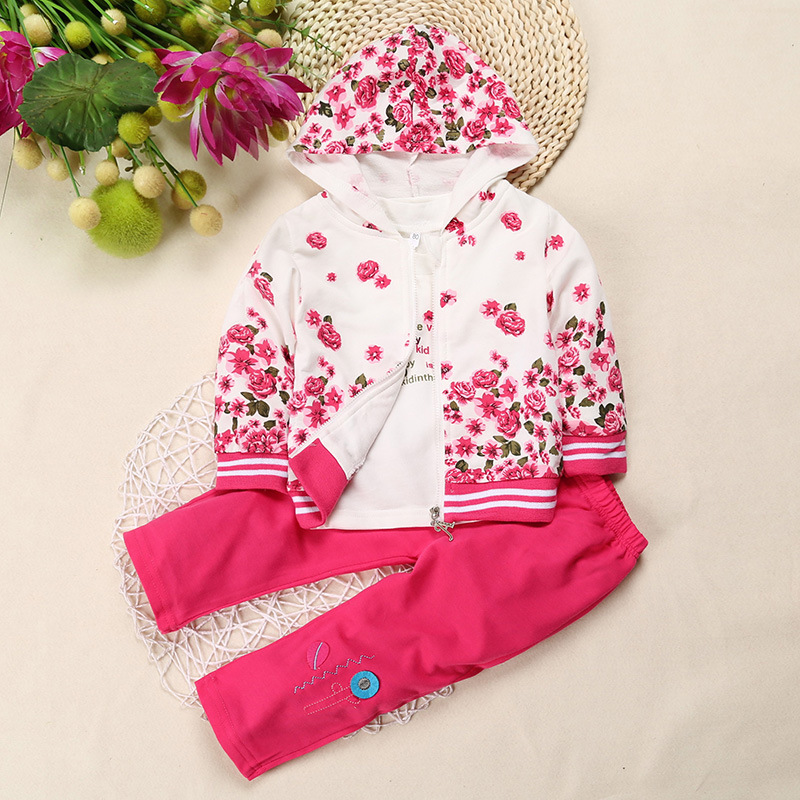 Hooyi Baby Girls 3Pcs Clothes Suit Rose Floral Pink Children Jacket + T-Shirt + Pant Suit Infant Hooded Coat 100% Cotton Outfits
