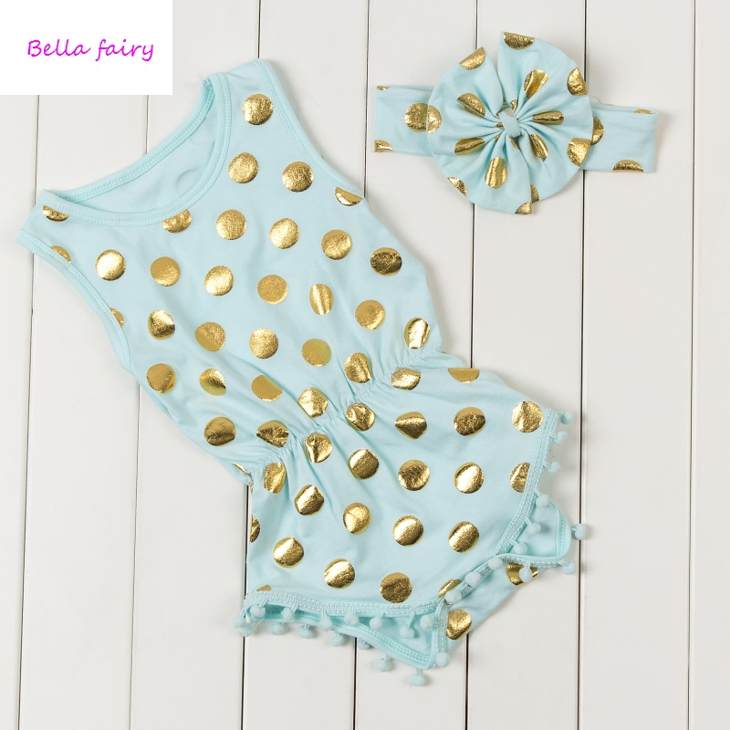 6397e546c6fae US $8.9 20% OFF|New Hot sale Polka Dots Baby Rompers Gold Newborn Baby  Girls Pompom Cute Kids Jumpsuits Summer Cotton Sleeveless Clothes POMP-in  ...