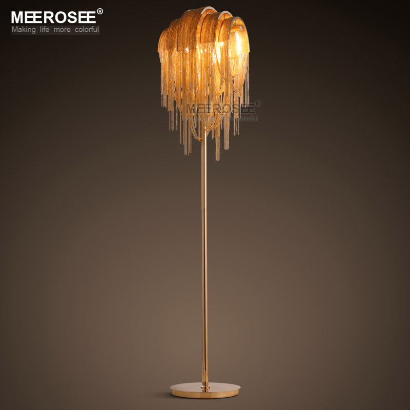 Vintage Aluminum Chain Floor Lamp Fixture Lustre Reading Room Living Hotel Cafe Bar Lambader Gold Color Standing Luminaria