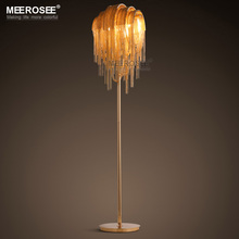 Vintage Aluminum Chain Floor Lamp Fixture Lustre Reading Room Living Room Hotel Cafe Bar Lambader Gold Color Standing Luminaria недорого