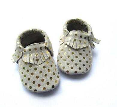New style Gold Dots Handmade New Style Baby Moccasins Genuine Leather Baby Shoes Tassels Newborn anti-skip first walker Shoes