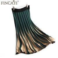 Spódnica Kobiet 2017 Jesień Zima Nowa Moda Cashmere Mieszanie Kontrast Kolor Patchwork Golden Line Striped Knit Plisowane Spódnice
