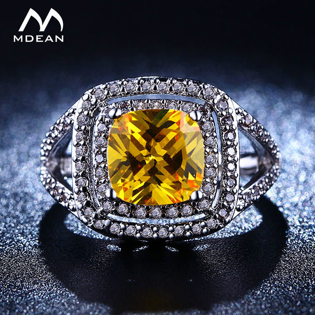 MDEAN White Gold Color Rings for Women Yellow Big AAA Zircon Jewelry Engagement Women Wedding Rings  Size 6 7 8 MSR206