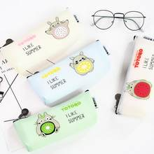 Totoro I Like Summer Fruit Silicone Pencil Case Stationery Storage Organizer Bag School Office Supply Escolar(China)