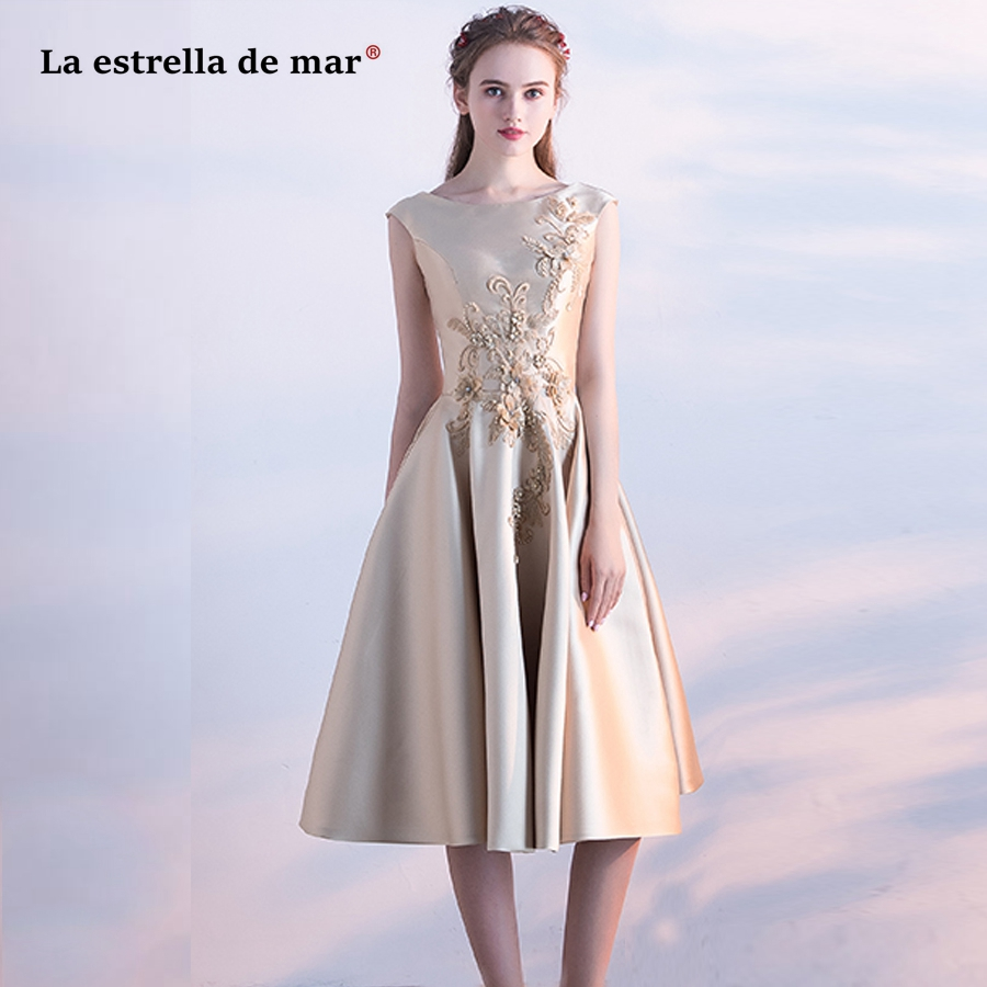 Wedding guest   dress   2019 new Scoop satin applique champagne gold light blue   bridesmaid     dresses   Tea Length vestido madrinha