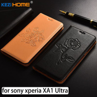 For Sony Xperia XA1 Ultra Case Flip Embossed Genuine Leather Soft TPU Back Cover For Sony