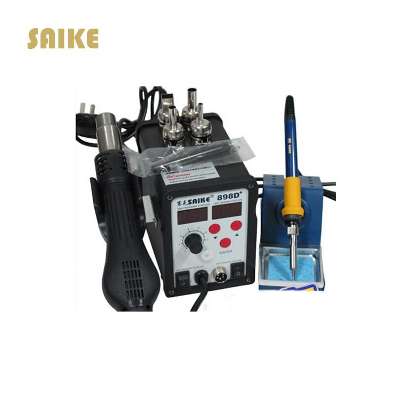 цена на SAIKE 898D+ 2 in 1 Soldering Station Hot Air Gun+welding Iron 220V 110V SAIKE898D Hot Air Gun+Solder Iron