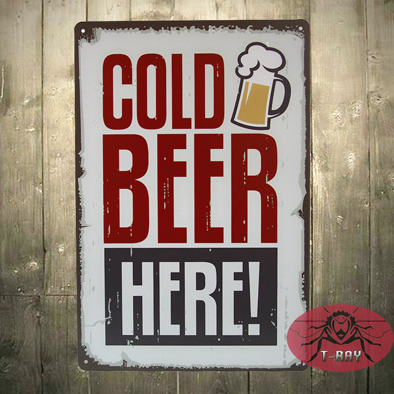 Cold beer here painting Tin Sign Bar pub Garage home Wall Decor Retro Metal Art Poster A-119
