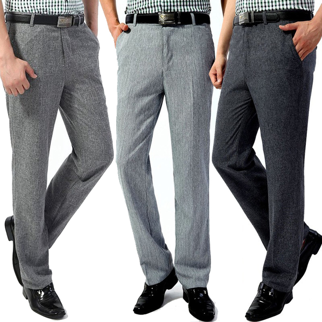 56779d319d77e6 Nieuwe zomer dunne mannen casual pak broek hoge taille losse linnen broek  middelbare leeftijd straight herenkleding zakelijke formele broek