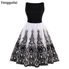 цена Summer Vintage Dress O Neck Knee Length Black Patchwork Pin Up Party Dress Elegant Zippers Empire Female Retro Dresses в интернет-магазинах