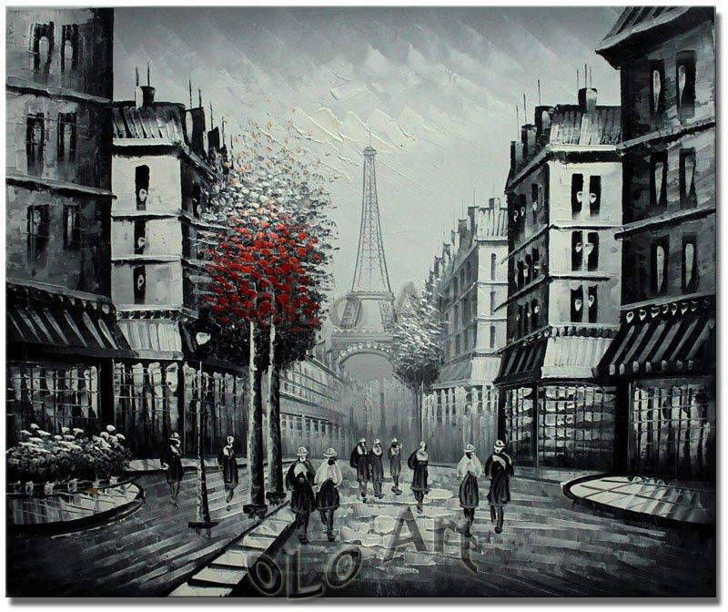 Paris Eiffel Tower Black White With Red Tree Urban Street Oil Painting Art On Canvas Wholesale Oil Paintings Olo Pcs001 Tower Art Tower Charttower Birds Aliexpress