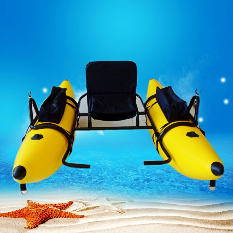 Pvc inflatable fishing boat with ce certification yellow for Inflatable fishing pontoon