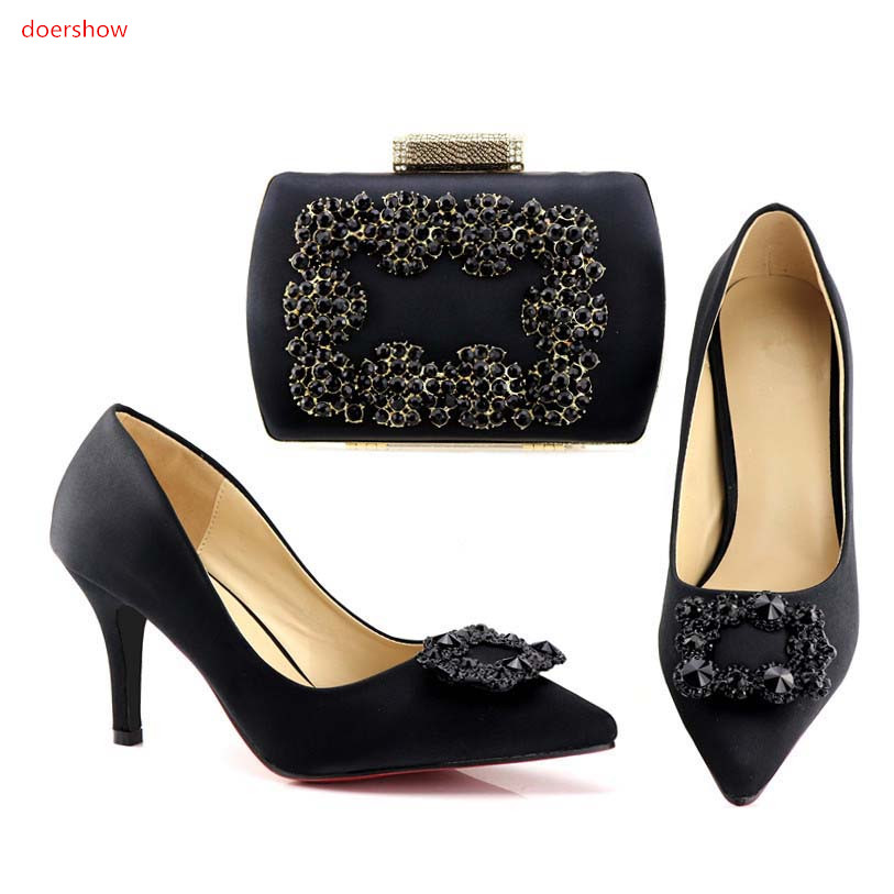 doershow Fashion black Shoes and Bag To Match Italian African Shoes and Bags Matching Set Decorated Italy shoes and bags!HV1-70 african shoes and matching bags italian shoes and bag set women pumps italy ladies shoes and bag set doershow hlu1 51