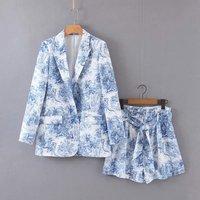 Summer shorts set casual 2 piece set women two piece set printing women clothes 2019 blue blazer suit women