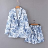 Summer shorts set casual 2 piece set women two piece set printing women clothes 2019 blue blazer suit women